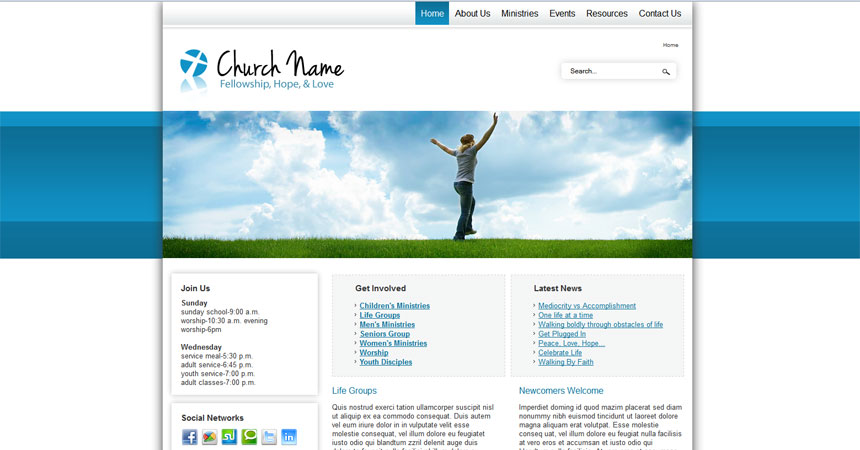 free joomla 2 5 template social activities and church free joomla