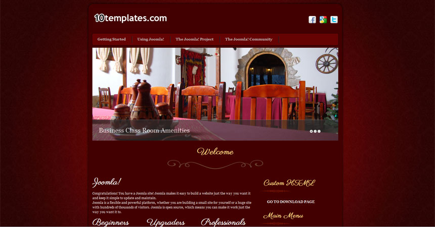 free joomla 2.5 template hotel - free joomla templates downloads, Powerpoint templates