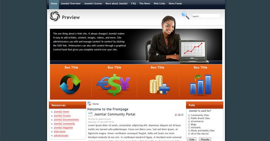 Free Joomla business finance template - Free Joomla
